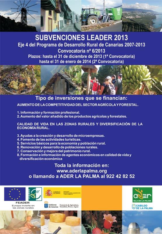 ADER LA PALMA convoca las ayudas LEADER para el primer semestre de 2014