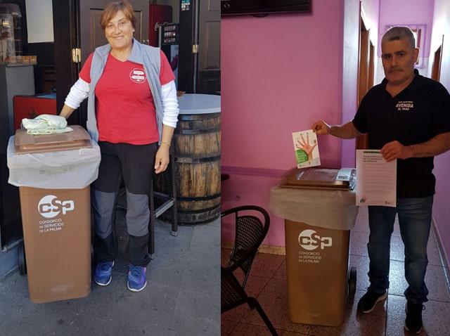 Comienza el reparto de contenedores para la separación de biorresiduos en los establecimientos de El Paso y Los Llanos