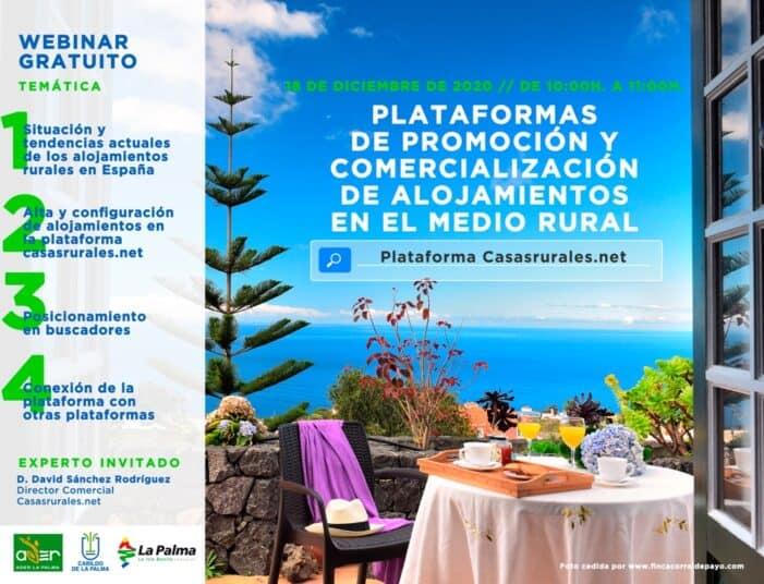 ADER La Palma organiza dos nuevos talleres online sobre herramientas de internet para alojamientos rurales, turismo activo o gestión de eventos