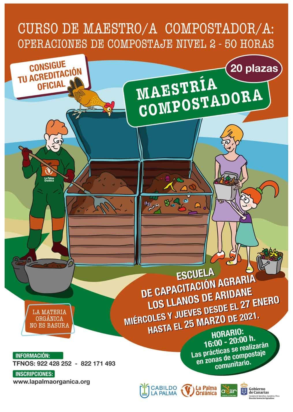 El Cabildo de La Palma y el Gobierno de Canarias imparten un curso de Maestría en Compostaje